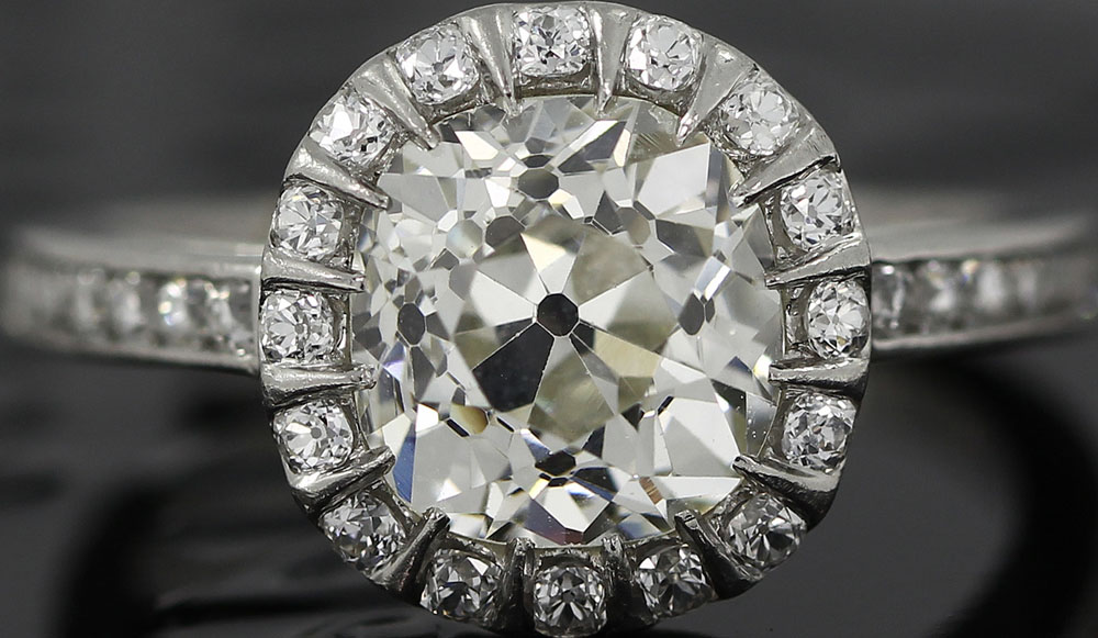 Yoram F - Antique Old Mine Cut Diamond set in a platinum ring