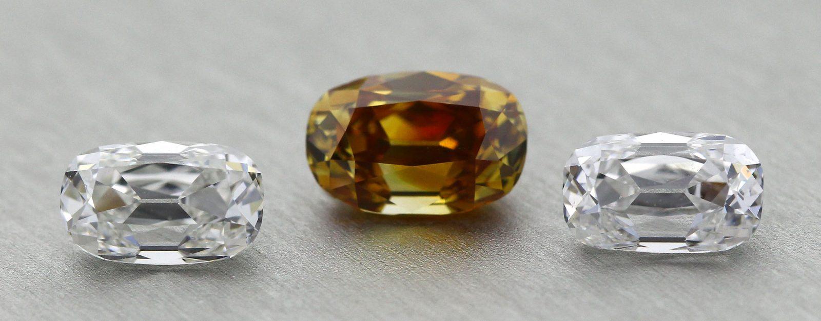 Three stone Old Mine Cut ensemble - a rare diamond set