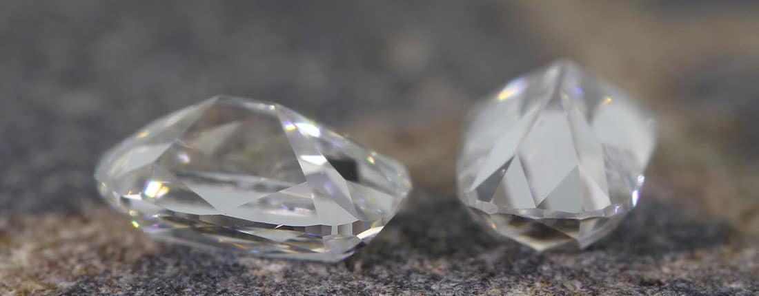 A pair of long colorless Old Mine Cuts