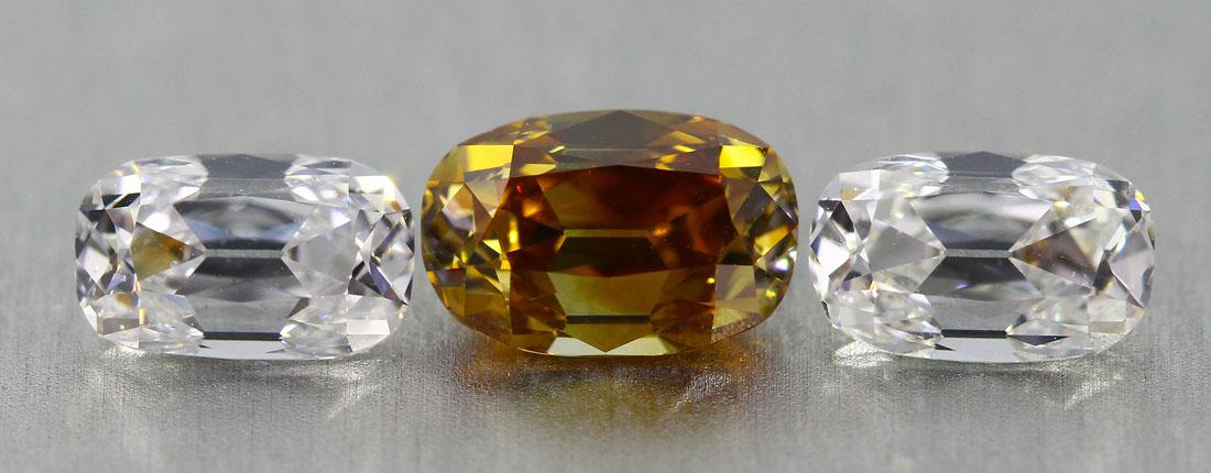 Three stone Old Mine Cut ensemble with 3 diamonds
