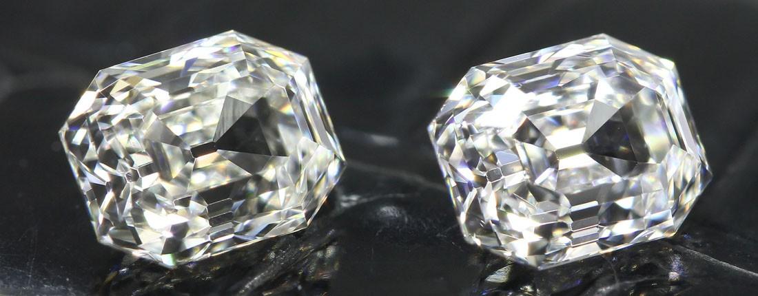 A pair of elongated emerald cut diamonds
