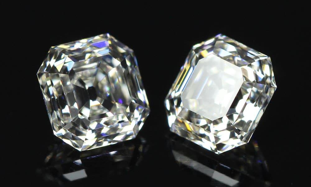 colorless matching Asscher Cut diamonds ensemble