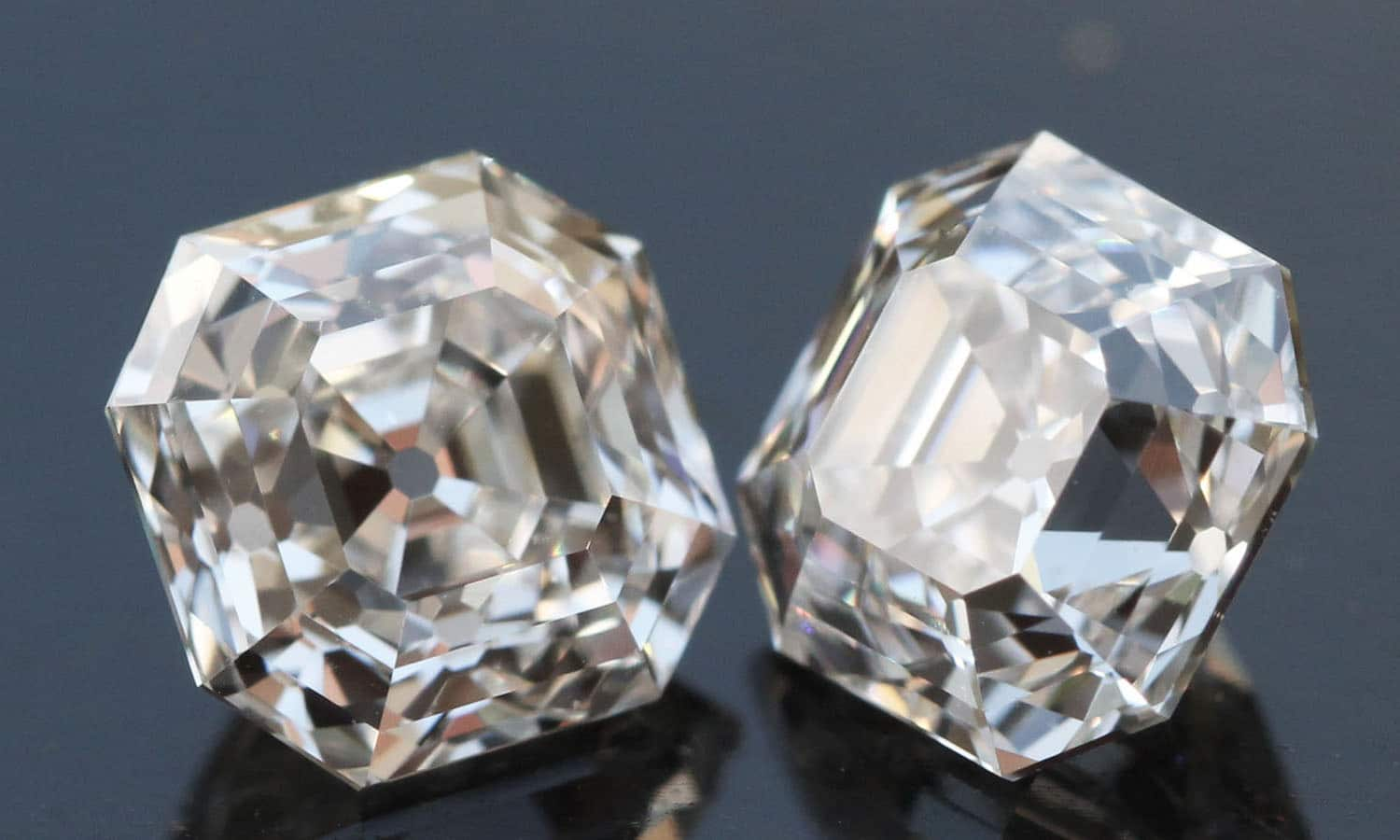 Colorless matching Asscher Cut pair