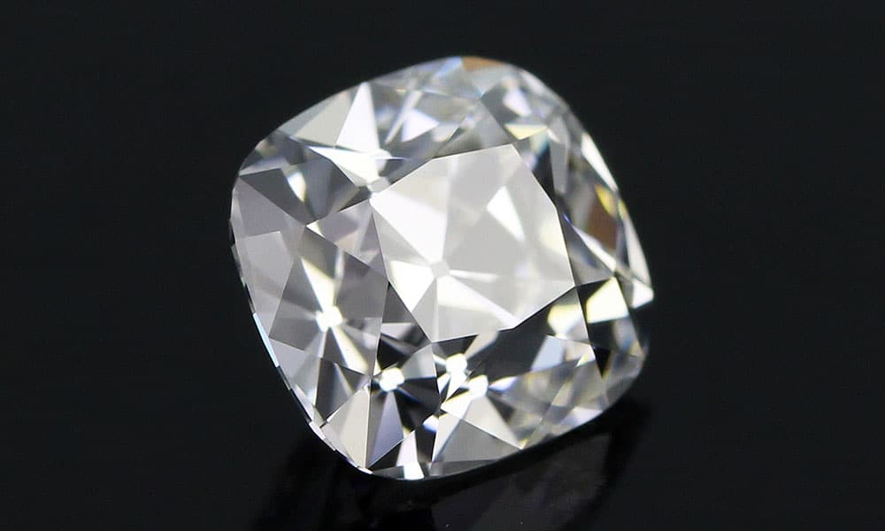 Innovative Old Mine Cut Diamond over dark background