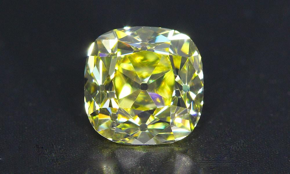 Intense Yellow Old Mine Cut Diamond