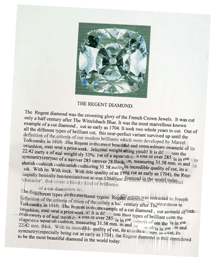 Regent-Pitt Diamond brochure at the Basel World fair of 2002
