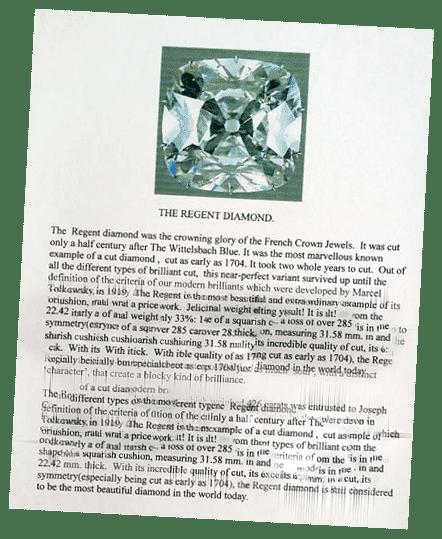 Regent-Pitt Diamond brochure at the Basel World fair of 2002