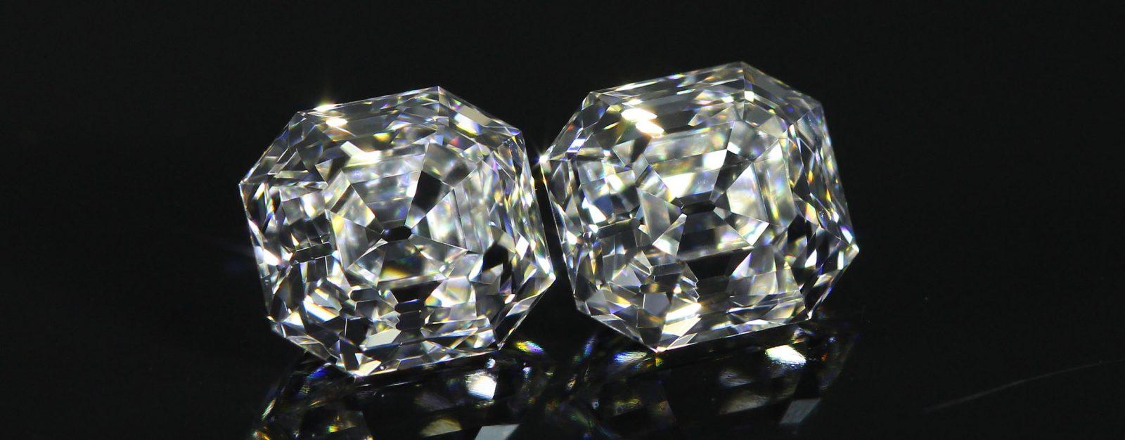 Pair of slightly elongated Asscher Cut Diamonds
