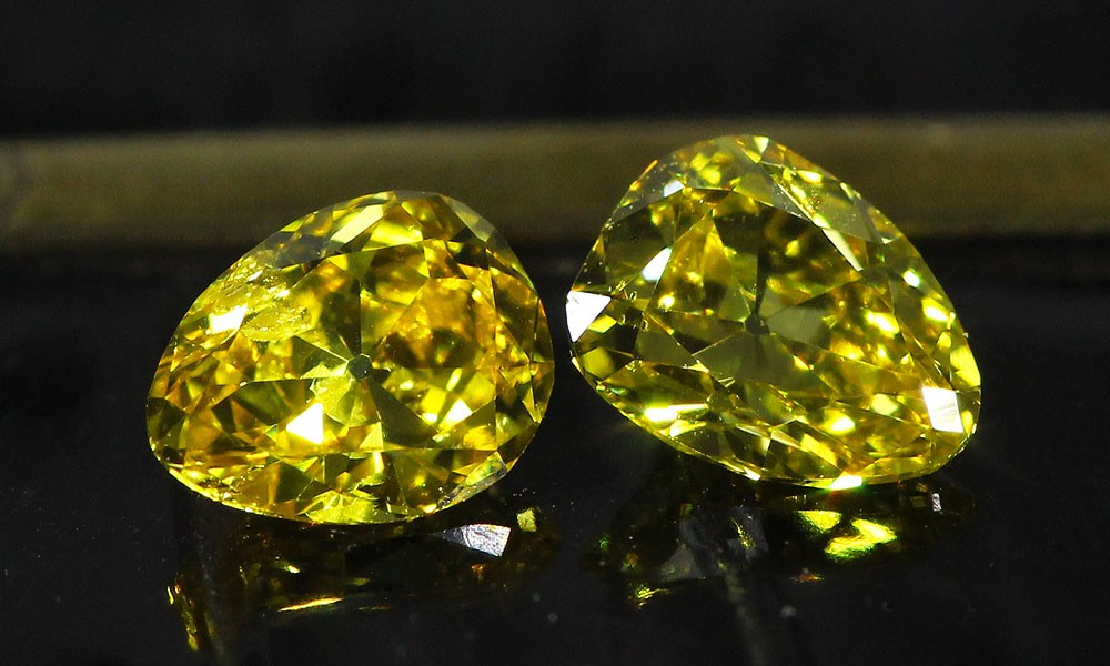 Canary three stone Old Mine Cut suite - the matching pair