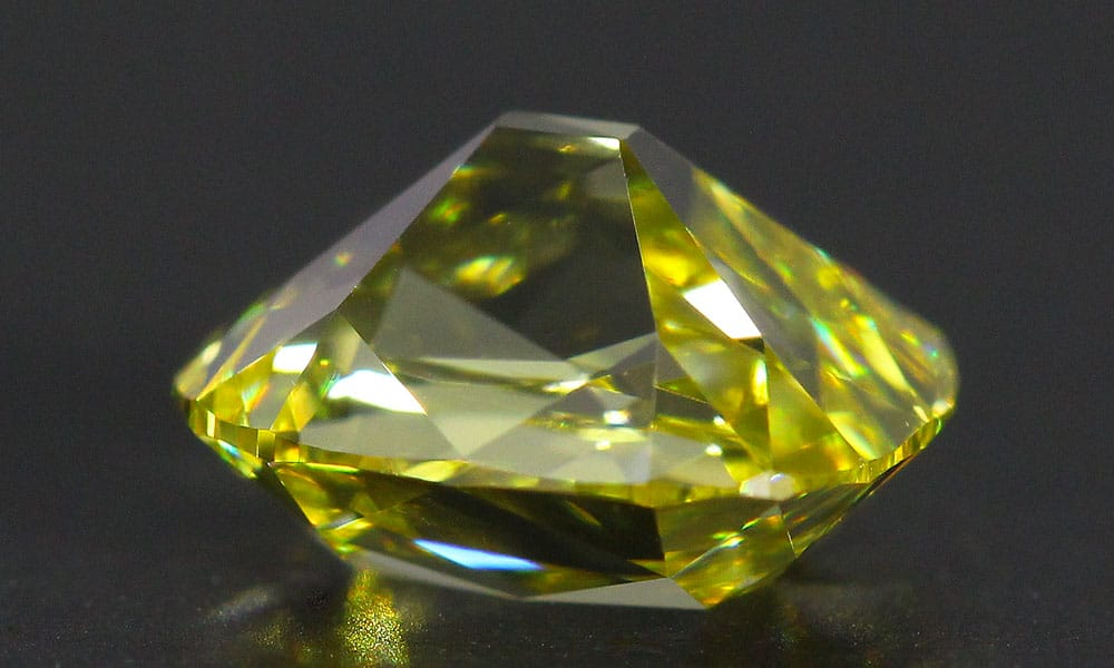 Canary Old Mine Cut Diamond upside down