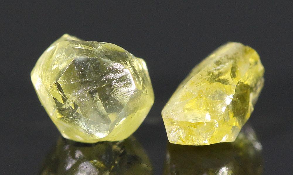 Yellow fancy color rough diamonds