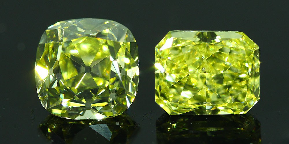 "Standard 58 facets brilliant colorless facet design Diamond VS. on the right a modified brilliant ""cut to enhance"" face up color"