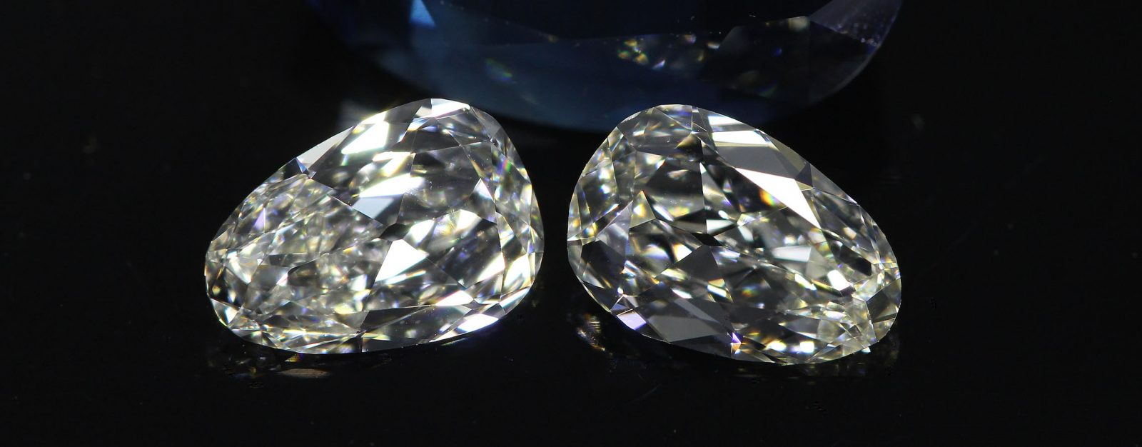 uniquely matched Old Mine Pear Diamonds