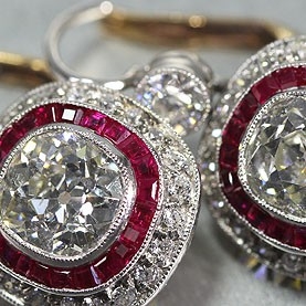 Antique Platinum & Gold Old Mine Cut Diamond Earrings