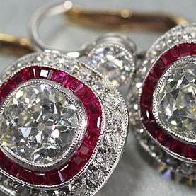 Antique Platinum & Gold Old Mine Cut Diamond Earrings