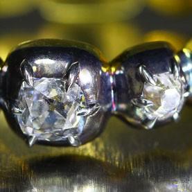 A full circle Georgian inspired Old Mine Diamonds band ring