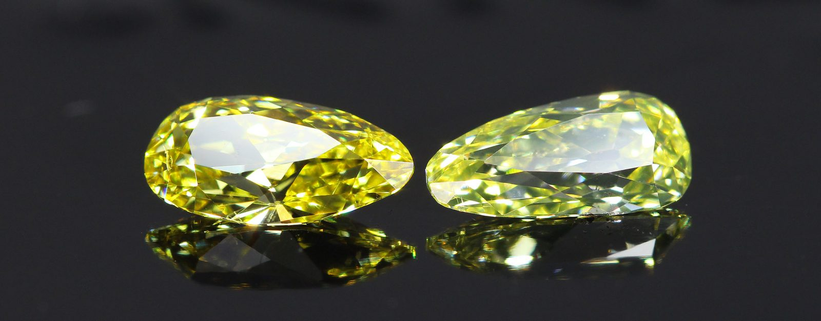 Fancy Colored Old Mine Pear Diamonds Pair