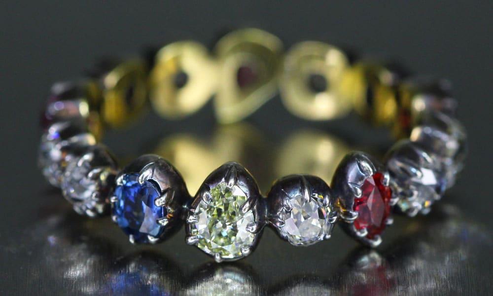 Collette Georgian inspired multi-gem band ring