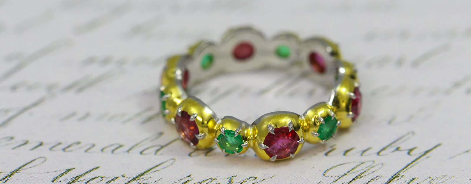 Collette Georgian inspired Ruby and Emerald band ring