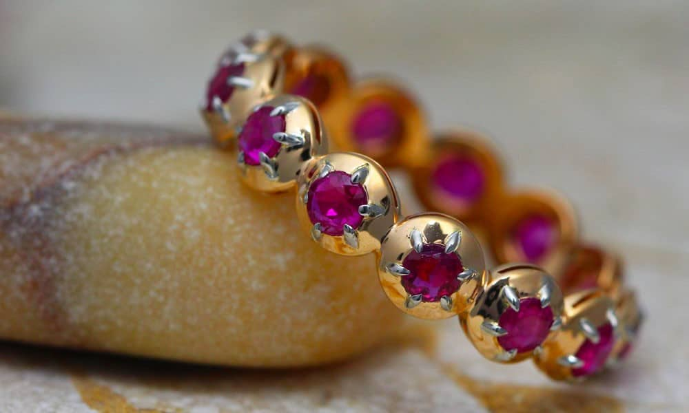 18kt Red Gold & Platinum Circle Contemporary Style Gem-Band set with Vintage Rubies.