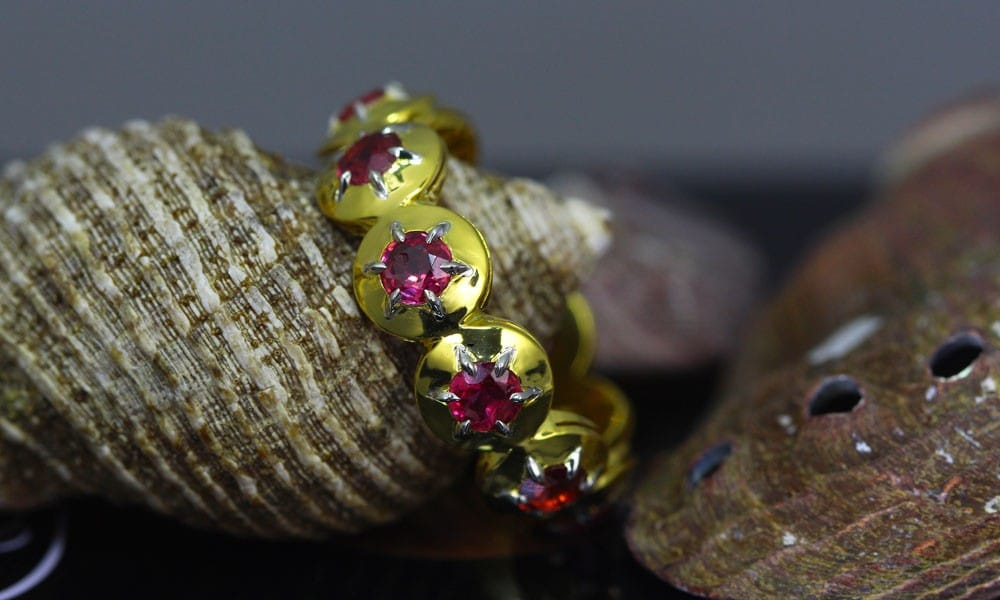 22kt Gold and Platinum Contemporary Style Gem-Band set with Vintage Rubies