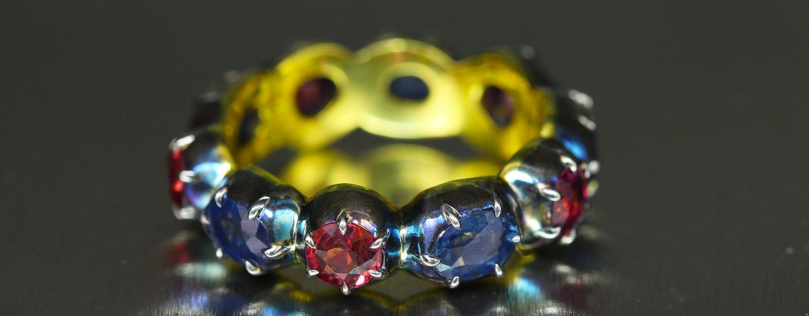 Georgian inspired Sapphire and Ruby band ring