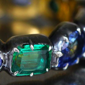 Georgian inspired Sapphire and Emerald band ring