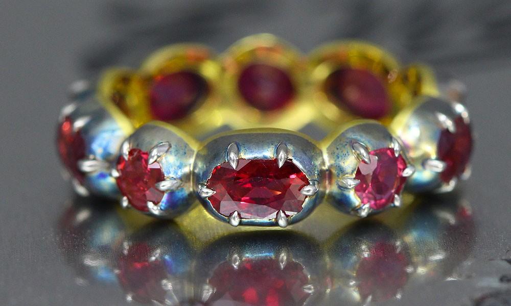 Georgian inspired vintage Ruby Gemstone band ring