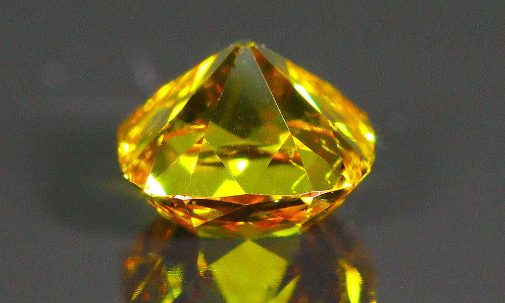 Orange-Yellow three stone Old Mine Cut Diamond suite