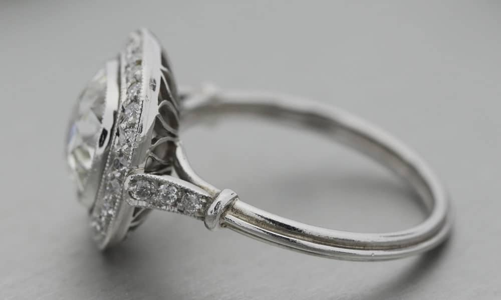 Antique Platinum Old Mine Cut Diamond ring