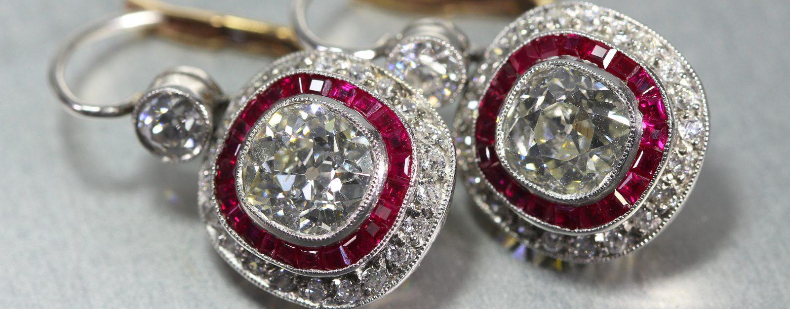 Platinum And Gold Old Mine Cut Diamond Earrings