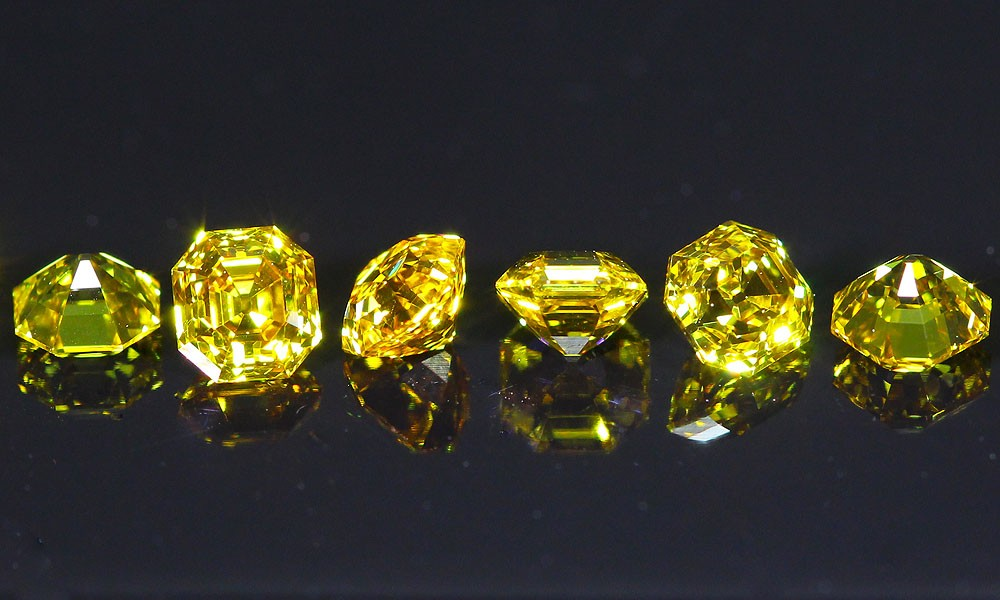 Rare line of Orange-Yellow Vintage style Asscher Cut Diamonds