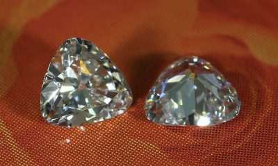 0.56 carat Old mine triangular pair of diamonds