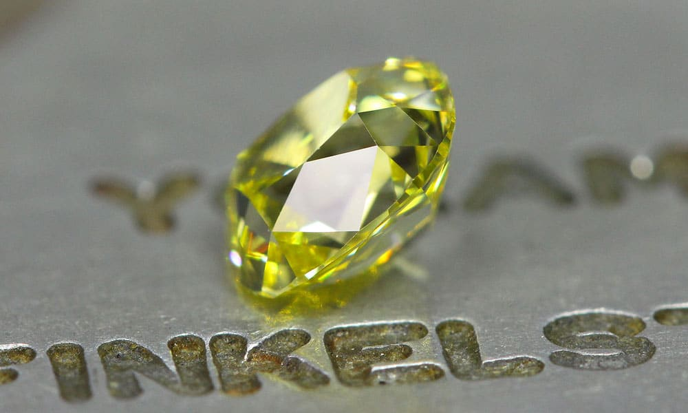 Beautiful slightly elongated Canary Old Mine Cut Diamond