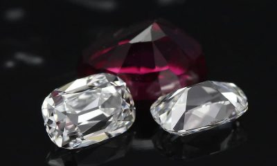 Elongated Old Mine Cut Diamonds Suite with a ruby