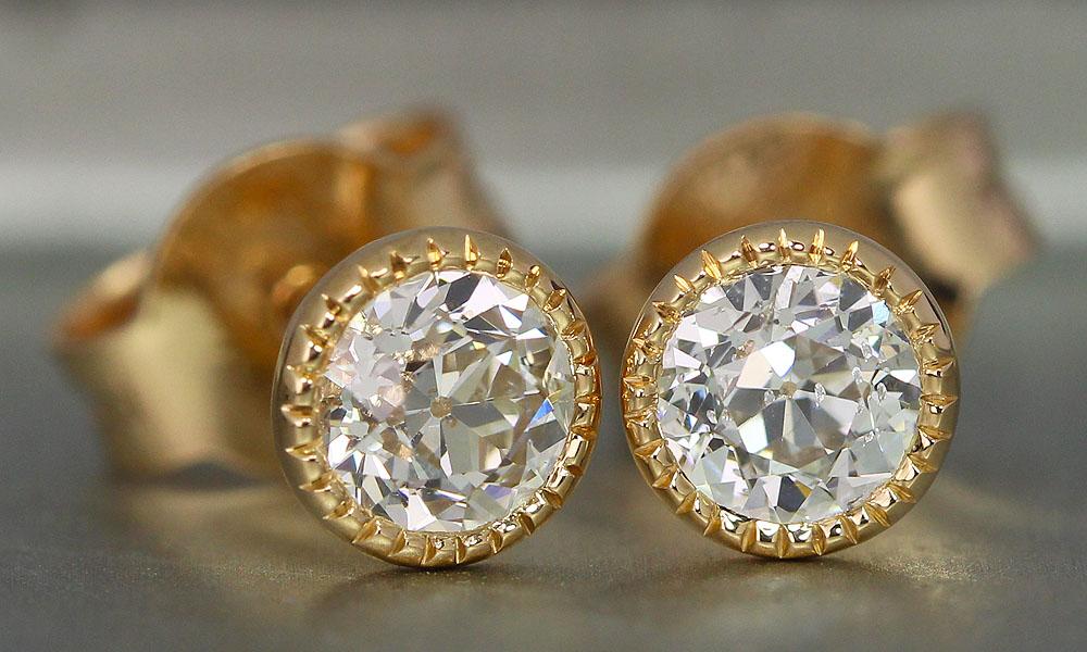 Old European Cut Diamonds set in earrings