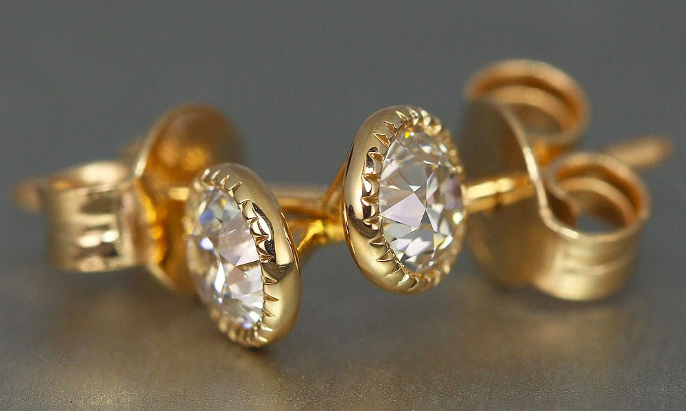 Old European Cut Diamonds set in earrings
