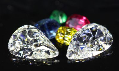 Mismatched Pair of Old Mine Pear Cut Diamonds