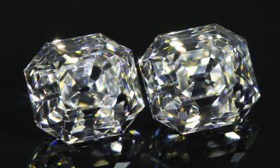 Pair of slightly elongated Asscher Cut Diamonds