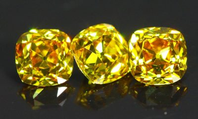 Orange-Yellow three Old Mine Cut Diamond Trio