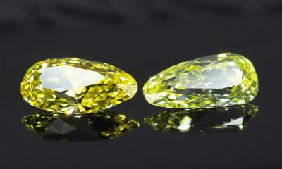 Yellow Old Mine Pear Cut Diamond Pair