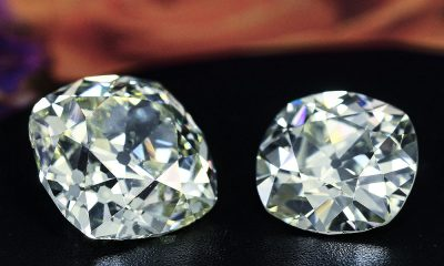two large old mine cut diamonds