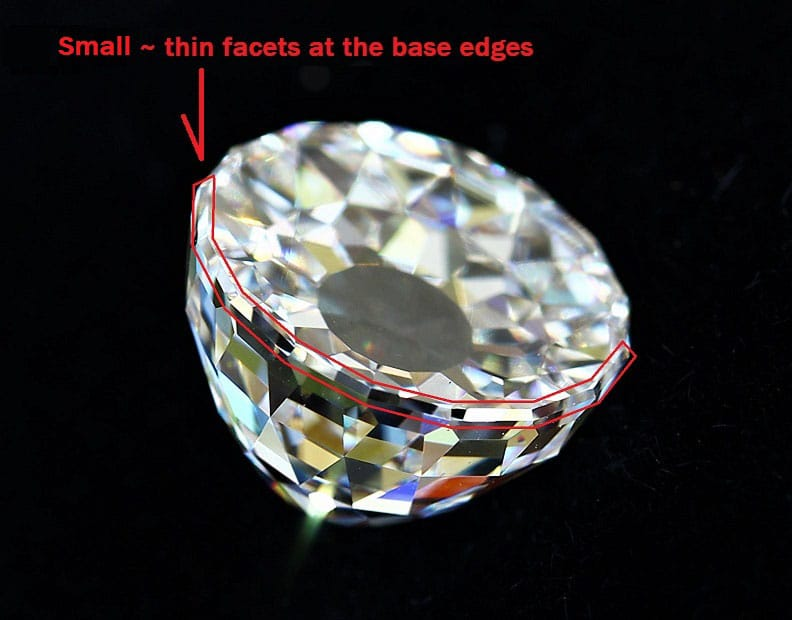 A row of thin facets contouring the outer edges of the large faceted base